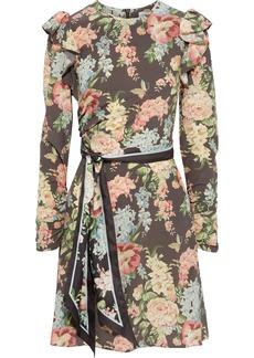 Zimmermann Woman Espionage Belted Floral-print Silk-blend Crepe De Chine Mini Dress Chocolate