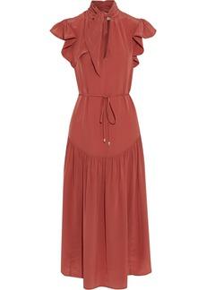 Zimmermann Woman Espionage Flutter Tie-neck Silk Crepe De Chine Midi Dress Brick