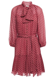Zimmermann Woman Espionage Pussy-bow Polka-dot Georgette Mini Dress Plum