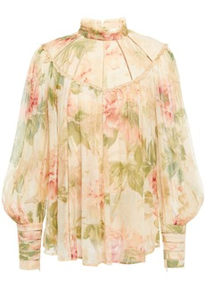 Zimmermann Woman Espionage Swing Lace-trimmed Floral-print Silk-crepon Blouse Cream