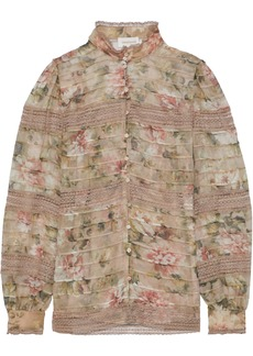 Zimmermann Woman Fleeting Pintuck Floral-print Silk-chiffon Blouse Taupe