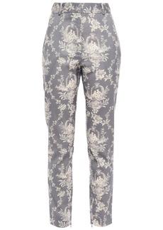 Zimmermann Woman Fleeting Printed Wool-blend Twill Slim-leg Pants Gray