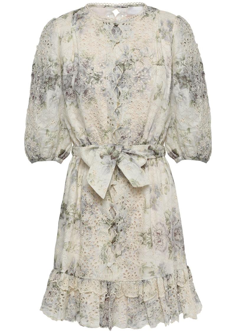 Zimmermann Woman Floral-print Broderie Anglaise Linen Mini Dress Cream