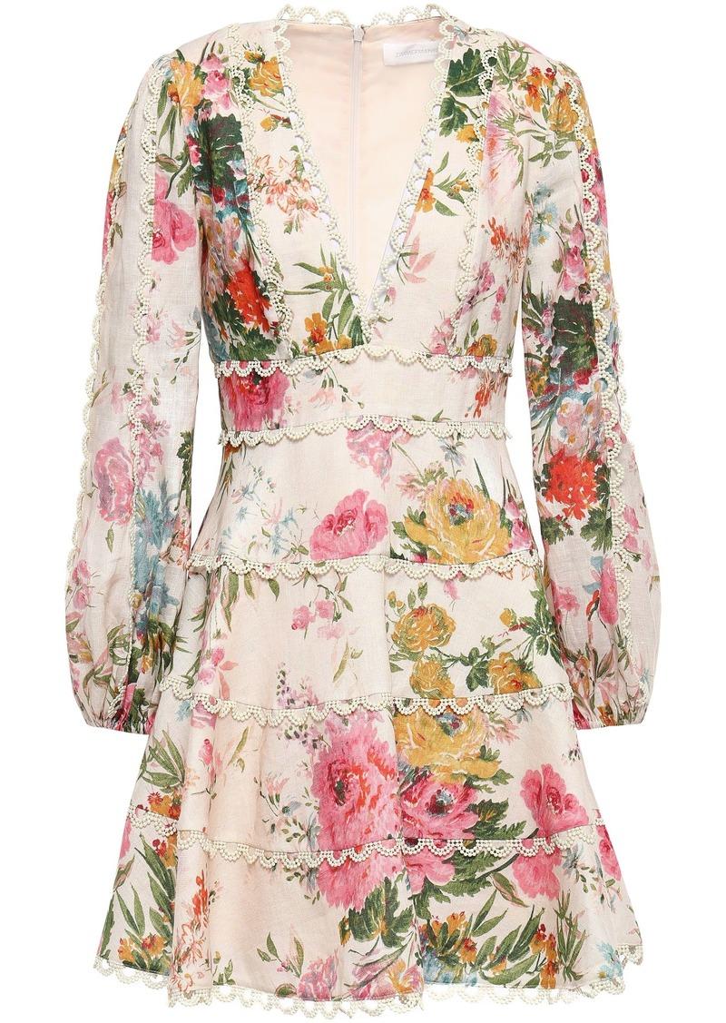 Zimmermann Woman Floral-print Linen Mini Dress Ecru