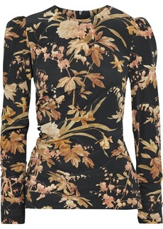 Zimmermann Woman Floral-print Ruched Stretch-silk Crepe Top Black