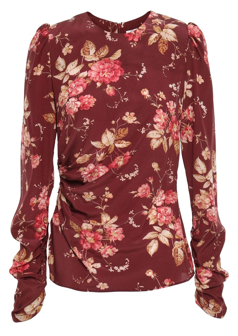 Zimmermann Woman Floral-print Ruched Stretch-silk Crepe Top Burgundy