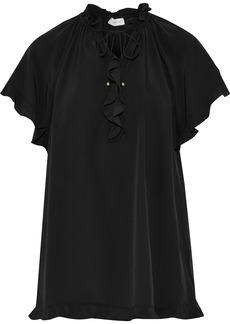 Zimmermann Woman Ruffle-trimmed Silk Blouse Black