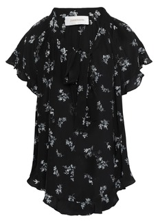 Zimmermann Woman Floral-print Silk Crepe De Chine Blouse Black