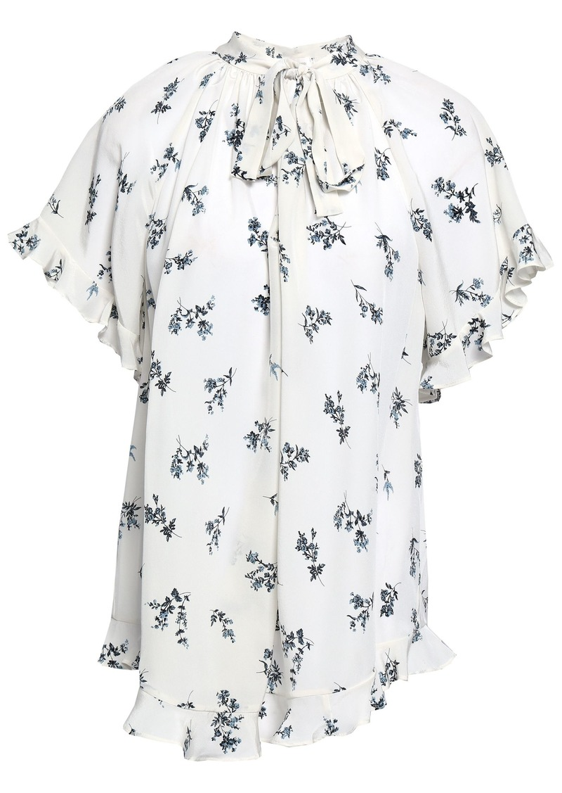 Zimmermann Woman Floral-print Silk Crepe De Chine Blouse White