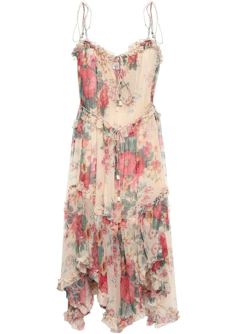 Zimmermann Woman Floral-print Silk-georgette Dress Peach