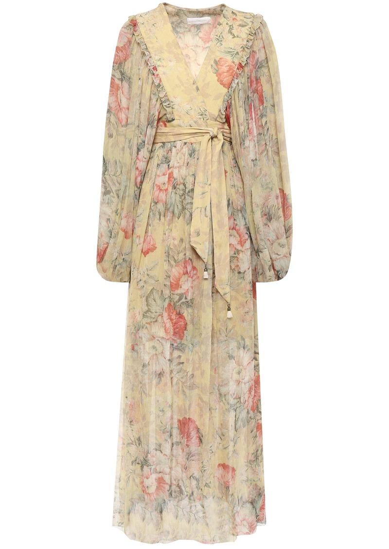 Zimmermann Woman Floral-print Silk-georgette Midi Wrap Dress Mustard