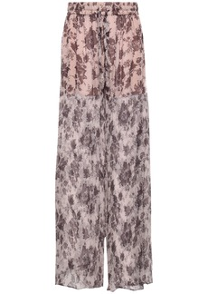 Zimmermann Woman Floral-print Silk-georgette Wide-leg Pants Mushroom