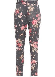 Zimmermann Woman Floral-print Wool-blend Twill Slim-leg Pants Dark Gray