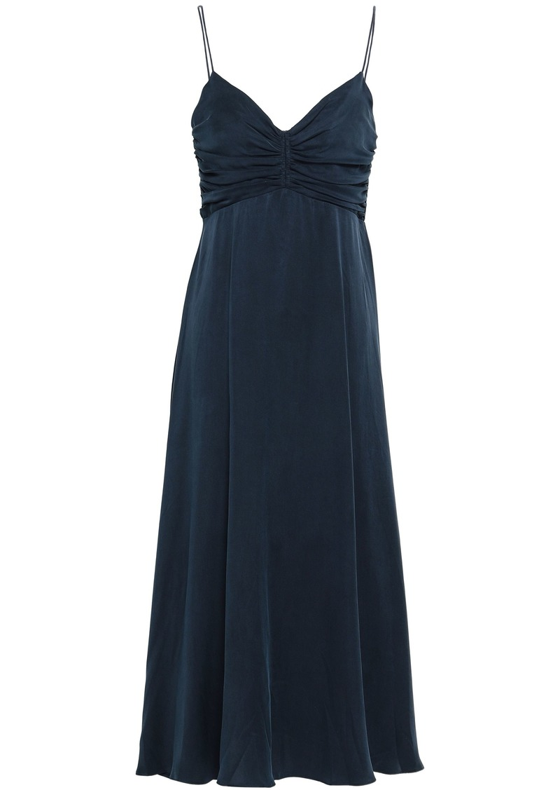 Zimmermann Woman Ruched Washed-silk Midi Dress Navy