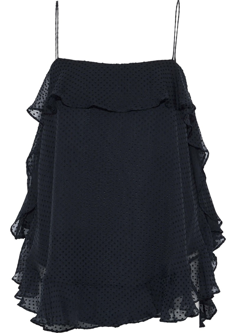 Zimmermann Woman Folly Flouce Swiss-dot Silk-blend Chiffon Camisole Midnight Blue