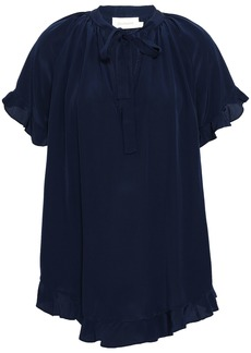 Zimmermann Woman Frill Swing Tie-neck Silk Crepe De Chine Blouse Midnight Blue