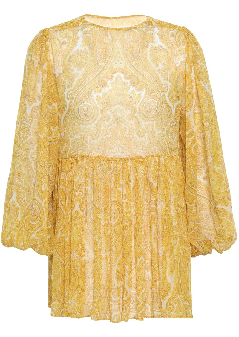 Zimmermann Woman Gathered Printed Silk-georgette Blouse Mustard
