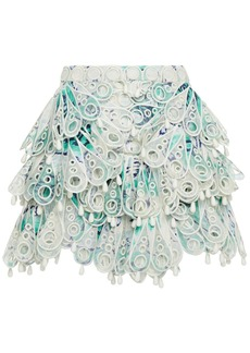 Zimmermann Woman Glassy Bubble Tiered Printed Broderie Anglaise Linen And Silk-blend Mini Skirt Turquoise