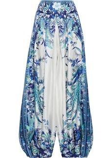 Zimmermann Woman Glassy Pleated Printed Silk-twill Harem Pants Blue