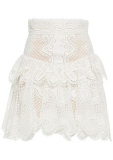 Zimmermann Woman Glassy Wave Ruffled Linen And Silk-blend Guipure Lace Mini Skirt Off-white