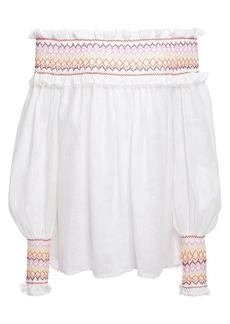 Zimmermann Woman Goldie Rainbow Off-the-shoulder Smocked Linen Top White