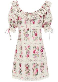Zimmermann Woman Honour Crochet-trimmed Pintucked Floral-print Cotton Mini Dress Ivory