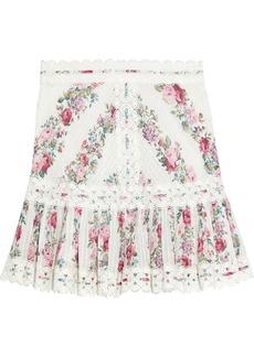 Zimmermann Woman Honour Crochet-trimmed Pintucked Floral-print Cotton Mini Skirt Ivory