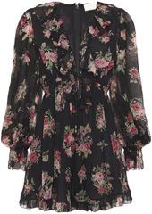 Zimmermann Woman Honour Floating Floral-print Silk-georgette Playsuit Black