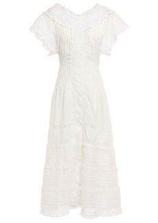 Zimmermann Woman Iris Paneled Leavers Lace And Swiss-dot Cotton Midi Dress Ivory