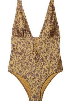 Zimmermann Woman Juniper Button-detailed Swimsuit Gold