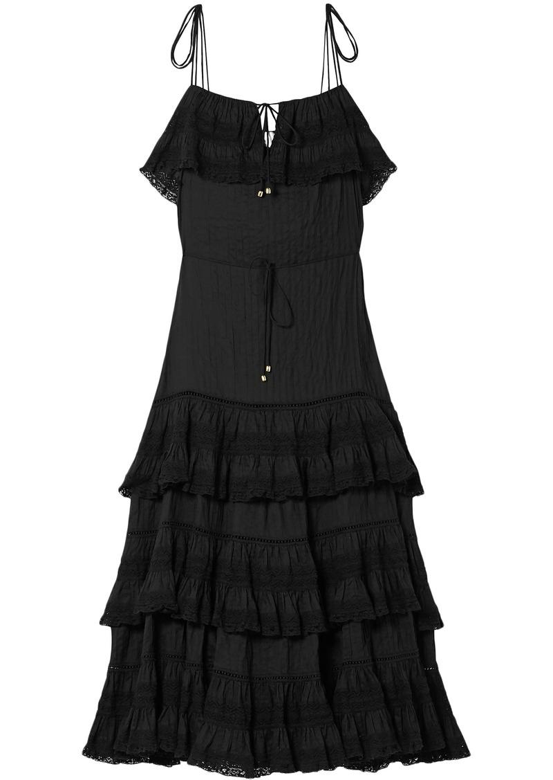 Zimmermann Woman Juniper Pintucked Cotton-voile Midi Dress Black