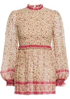Zimmermann Woman Juniper Shirred Floral-print Cotton And Silk-blend Gauze Top Sand