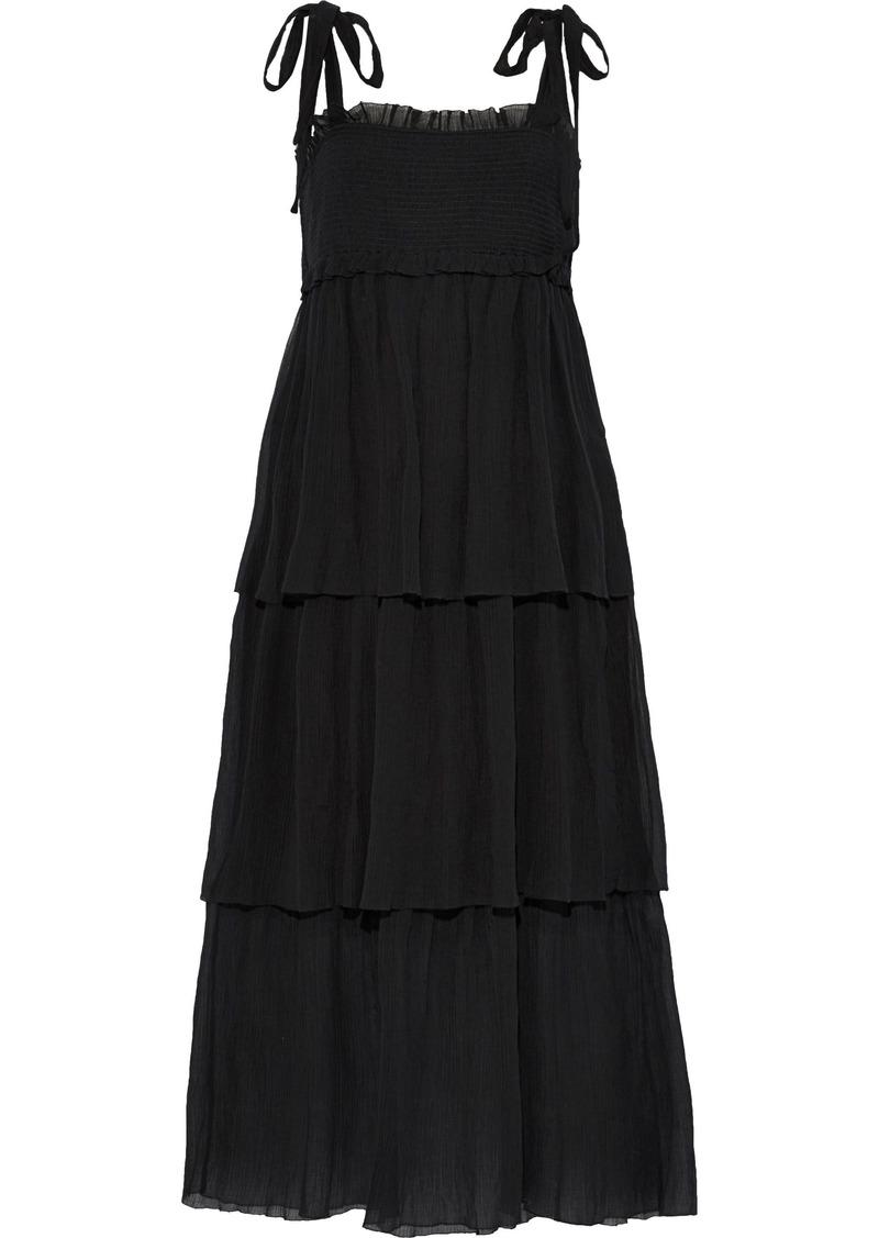 Zimmermann Woman Juniper Tiered Crinkled Cotton And Silk-blend Midi Dress Black