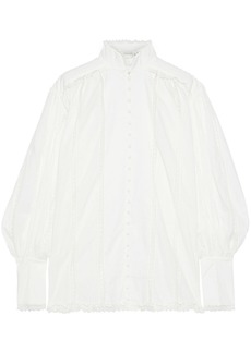 Zimmermann Woman Lace Smock Gathered Cotton-voile Blouse Off-white
