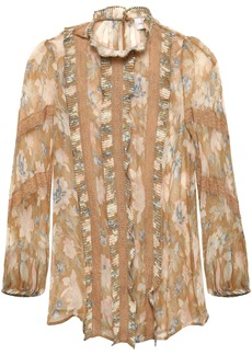 Zimmermann Woman Lace-trimmed Floral-print Silk-georgette Blouse Sage Green