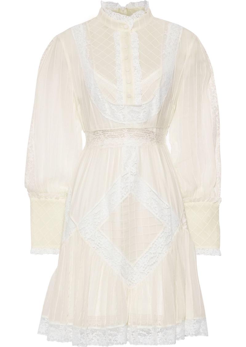 Zimmermann Woman Lace-trimmed Floral-print Silk-chiffon Mini Dress Off-white