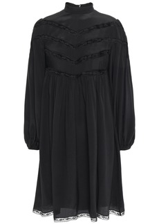Zimmermann Woman Lace-trimmed Silk Crepe De Chine Mini Dress Black