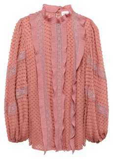 Zimmermann Woman Pleated Lace-trimmed Swiss Dot Silk-georgette Blouse Antique Rose