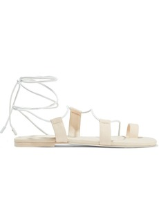 Zimmermann Woman Lace-up Leather Sandals Pastel Pink