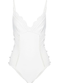 Zimmermann Woman Laelia Button-embellished Broderie Anglaise Swimsuit Ivory