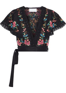 Zimmermann Woman Laelia Cropped Embroidered Linen And Cotton-blend Wrap Top Black