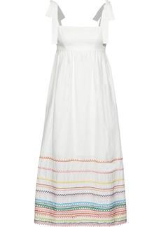Zimmermann Woman Laelia Embroidered Linen And Cotton-blend Midi Dress White