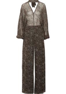 Zimmermann Woman Lavish Open-back Printed Silk-chiffon Jumpsuit Black