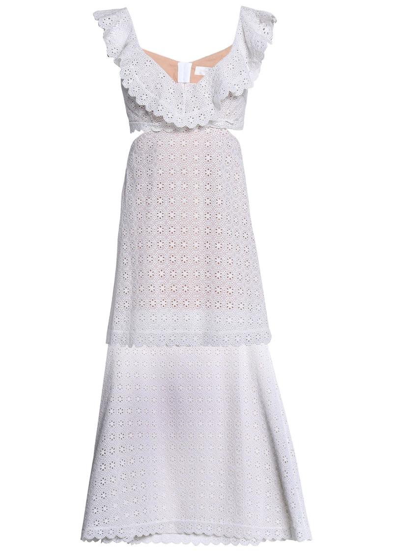 Zimmermann Woman Layered Cutout Broderie Anglaise Cotton Midi Dress Ivory
