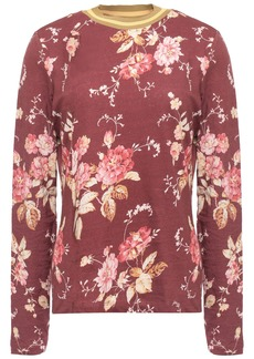 Zimmermann Woman Linen And Cotton-blend Jersey Top Burgundy