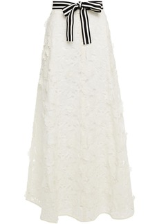 Zimmermann Woman Super Eight Lift Off Belted Linen And Silk-blend Guipure Lace Maxi Skirt Ivory