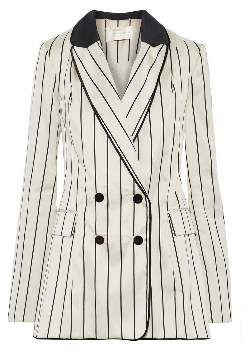 Zimmermann Woman Maples Collegiate Double-breasted Pinstriped Cotton-blend Sateen Blazer Neutral