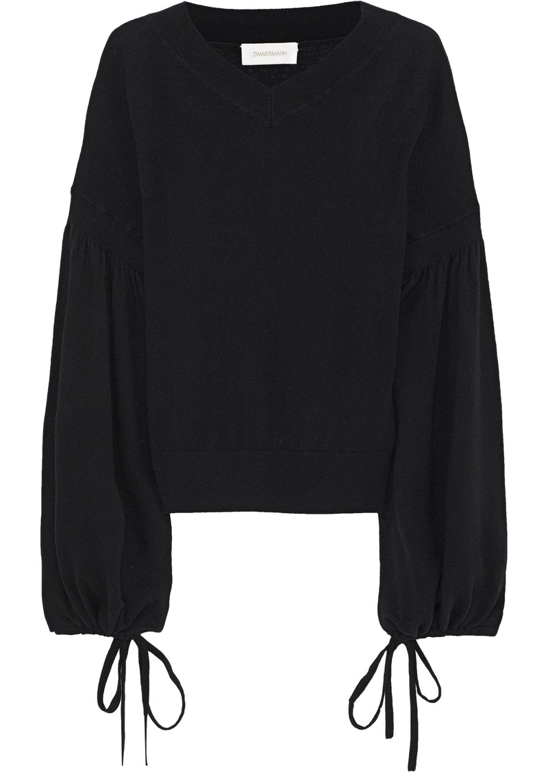 Zimmermann Woman Maples Louch Wool And Cashmere-blend Sweater Black