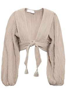 Zimmermann Woman Melkha Cropped Crinkled-gauze Top Neutral