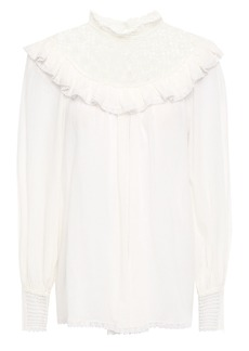 Zimmermann Woman Melody Crochet-paneled Ruffled Cotton-voile Blouse Ivory